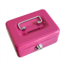 4inch Small Key Lock Petty Cash Piggy Bank Money Box Pot Safe Coin Slot Pink