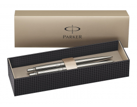 Parker Jotter Retractable Ballpoint Pen and Mechanical Pencil Set Stainless Steel Blue Ink 0.5 mm Hb Lead Blister Pack of 2
