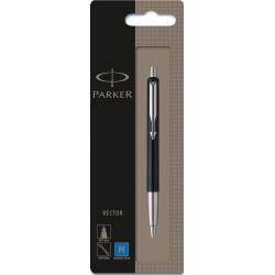 Parker Vector Standard Ballpoint Ball Pen Stainless Steel Blister Pack