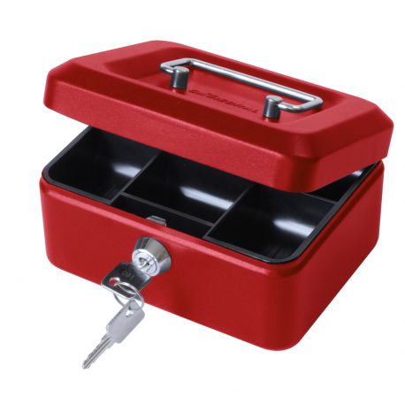 "6"" Key Lockable Storage Security Petty Cash Small Money Box Red"