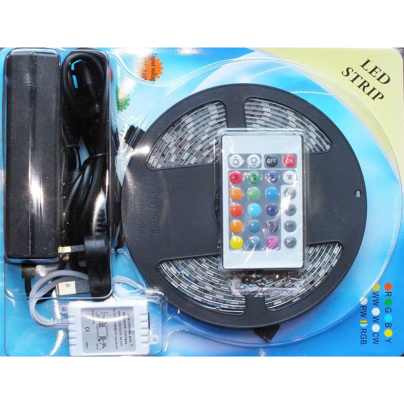 Led Garage Lighting Strips: 300 LED Strips Light SMD 5050 RGB White IP65 Waterproof