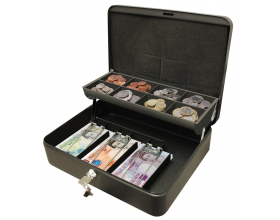 "Cathedral 12"" Lockable Petty Cash & Coins Security Box Tin Safes"