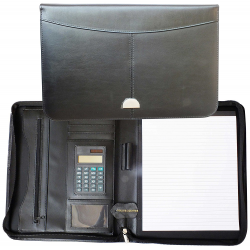 Cathedral A4 Leather Conference Portfolio Folder - Zipped Black CONFLRBK