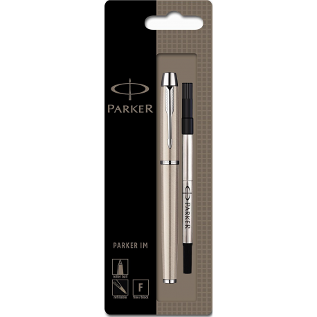 Parker IM Rollerball Pen with Fine Nib, CT Brushed Metal S0878571
