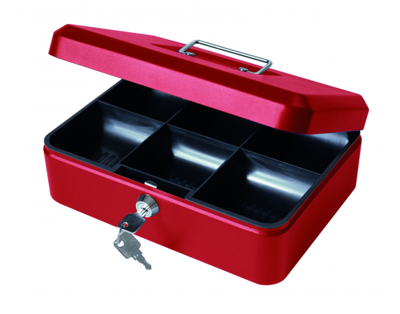 "10"" Money Box with Lock, Petty Cash Tin - Red"