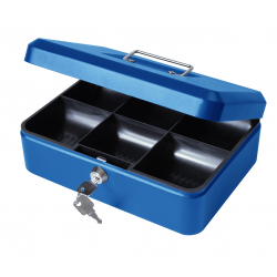 "10"" Metal Petty Cash Box with Lock - Blue"