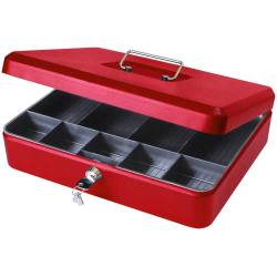 "Cathedral 12"" Large Locking Cash Box, Metal Tin - Red CBRD12"