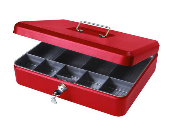 "12"" Large Locking Cash Box, Petty Cash Tin - Red"