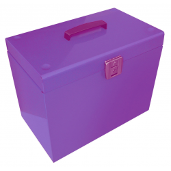 Cathedral Foolscap Suspension File Storage Box, Purple HOPP