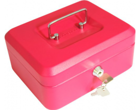 "8"" Petty Cash Box, Lockable Money Box Tin - Pink"
