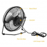 "4"" Inch Mini Portable Usb Desk Fan Small for Desktop Laptop or PC"