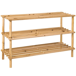 3 Tier Stackable Wooden Shoe Rack Vertical Storage Shelf Unit