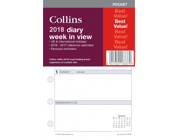 Collins Pocket Size 2018 Week in View Diary Insert Refill KT3700-18