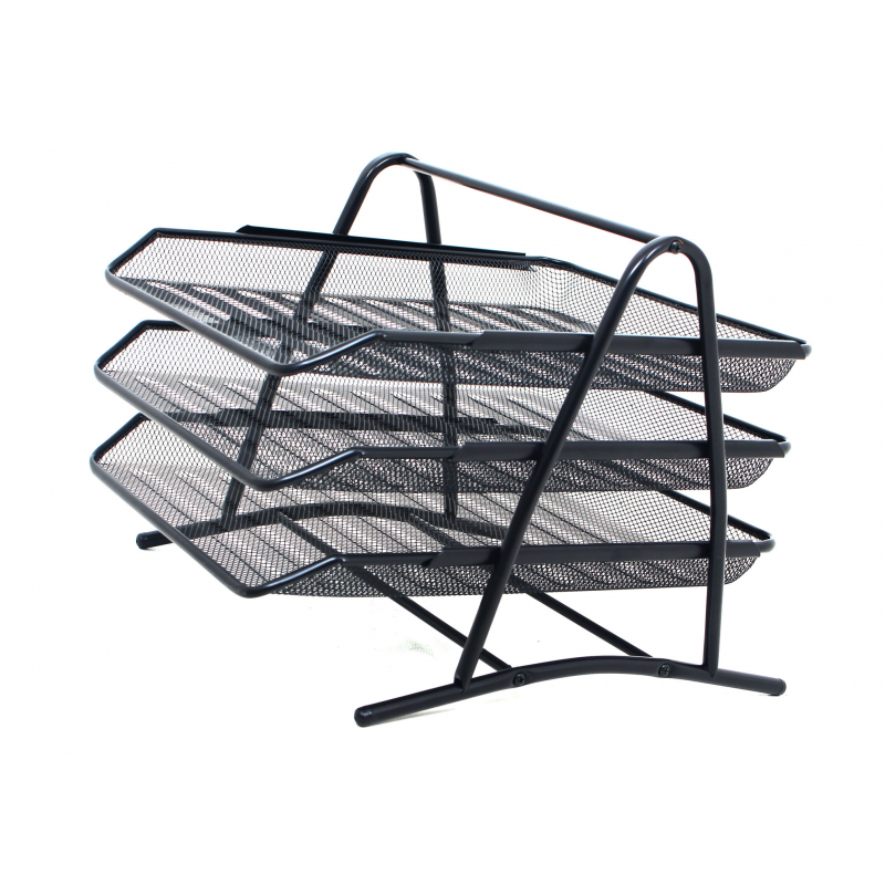 312 Mesh 3 Tier Document Filing Letter Paper Trays Desk Tidy Metal Organiser Risers 614961187757 on stackable desk trays